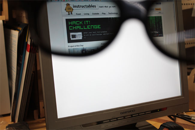 The modified 3D monitor only shows pictures through the glasses