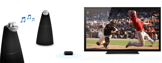 With the latest update for Apple TV you can stream video to your TV and sound to your AirPlay-enabled speakers