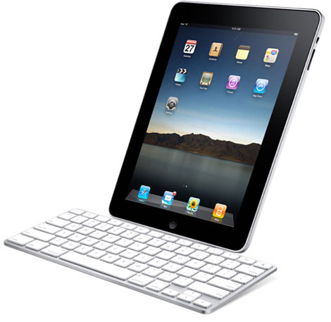 Apple iPad in dock with keyboard