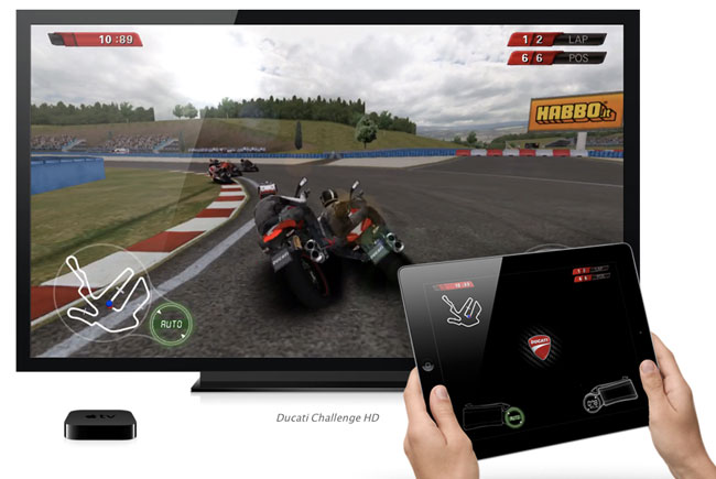 With AirPlay you can use your iPad as a controller and have the TV display the game action