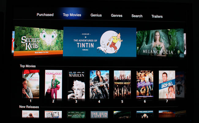 Movie rentals on the Apple TV box