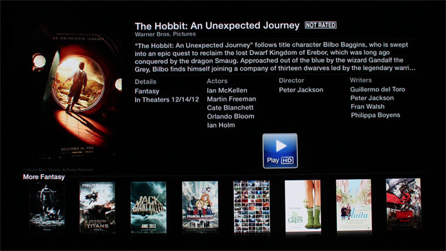 Movie trailers on Apple TV
