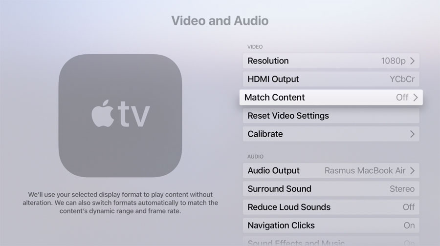 Apple TV match functions