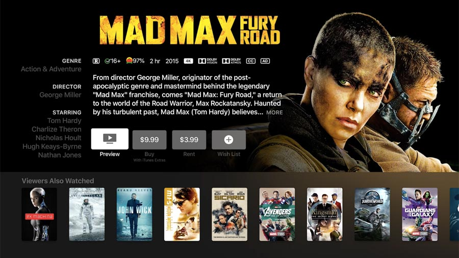 Mad Max in Dolby Atmos on iTunes