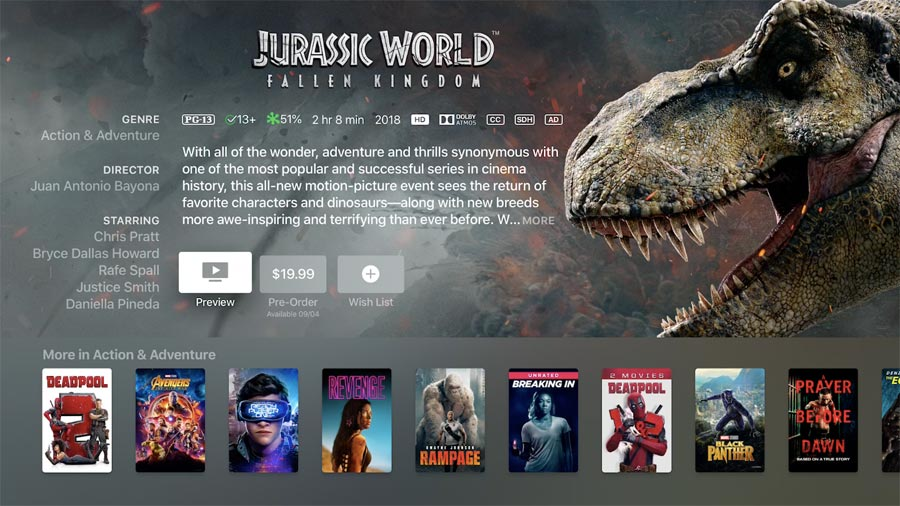 Jurassic World in Dolby Atmos on iTunes