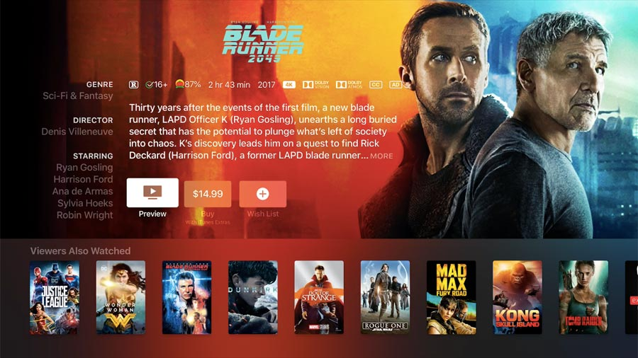 Blade Runner 2049 in Dolby Atmos on iTunes