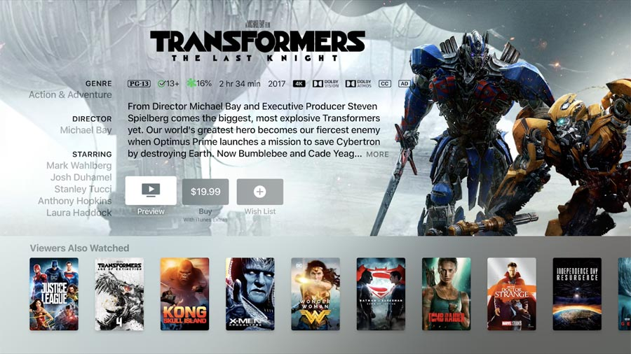 Transformers in Dolby Atmos on iTunes