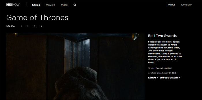 HBO Now in the browser