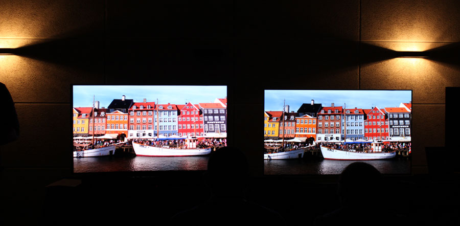 LCD to the left vs. OLED to the right