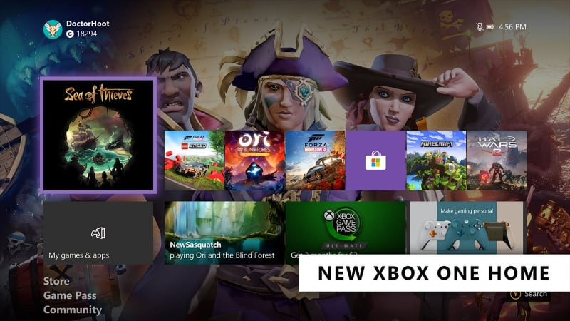 Xbox home interface in 2020