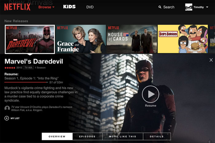 New Netflix web interface