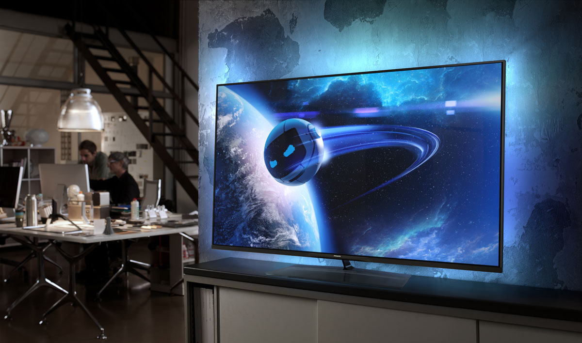 philips presents elevation its thinnest tv to date. Black Bedroom Furniture Sets. Home Design Ideas