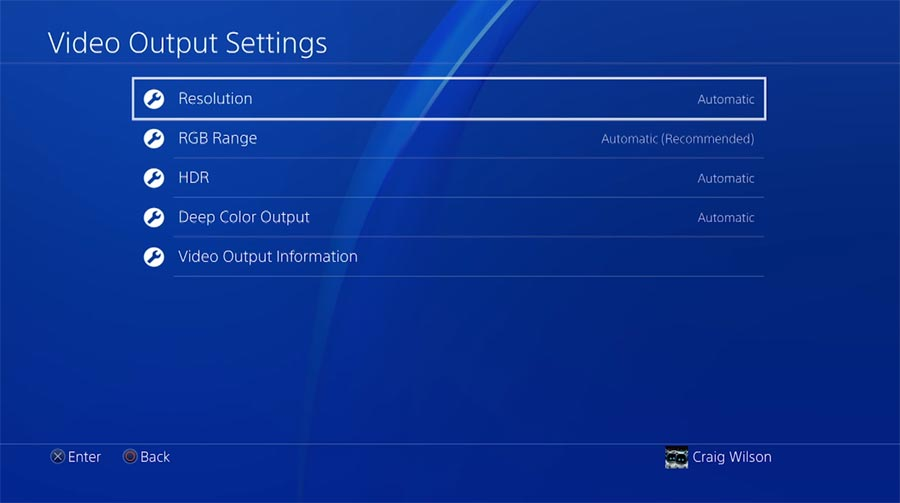 PlayStation 4 Pro 4K HDR settings