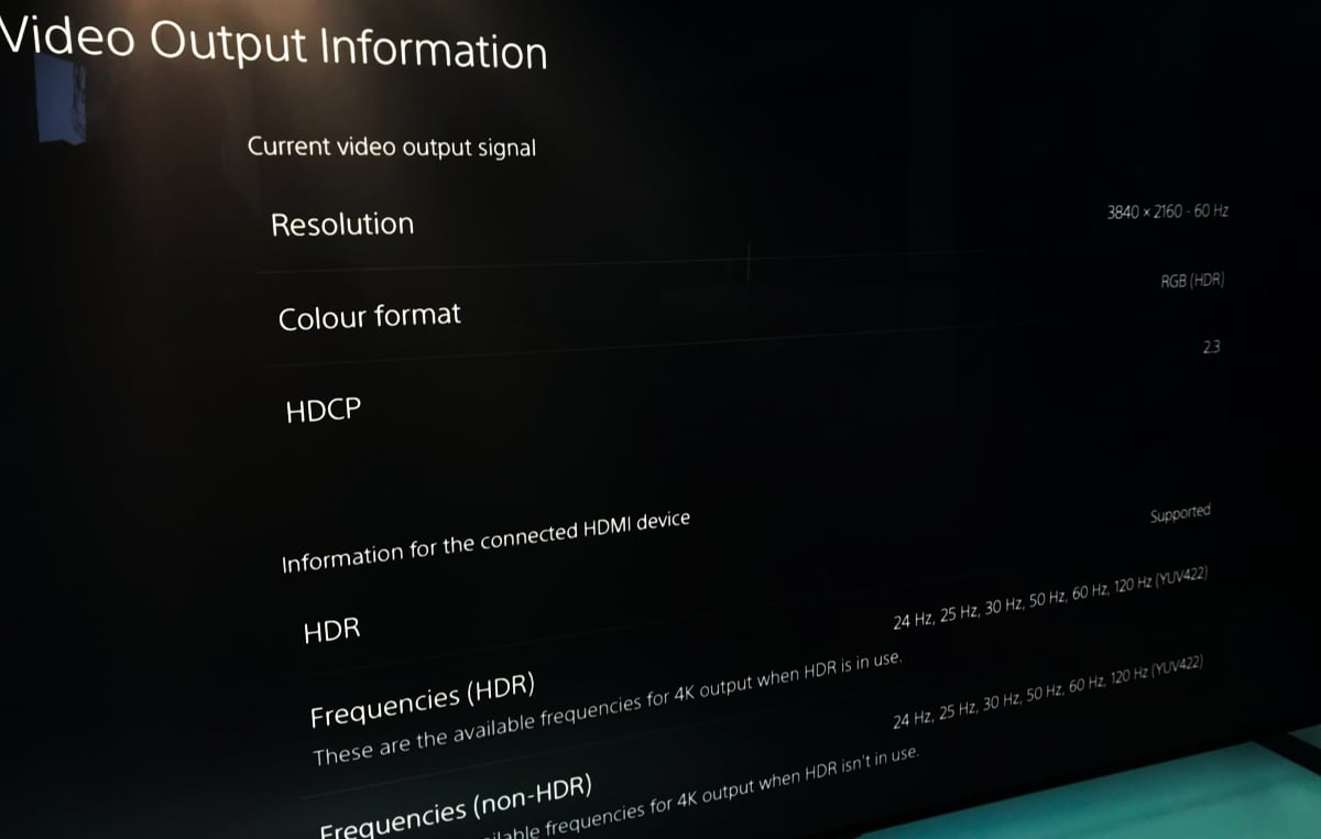 PS5 HDMI 2.1 output