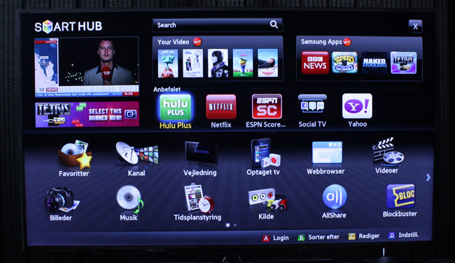 Netflix on a European Samsung Smart TV. Also notice services such as Hulu and Blockbuster