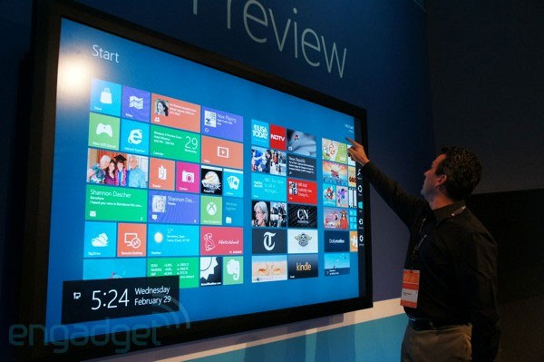Windows 8 was demonstrated on a 82-inch display with 100 simultaneous touch points