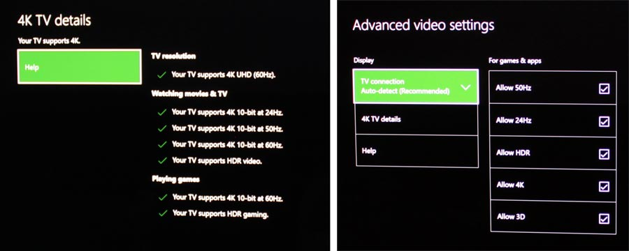 Xbox One S 4K HDR setting